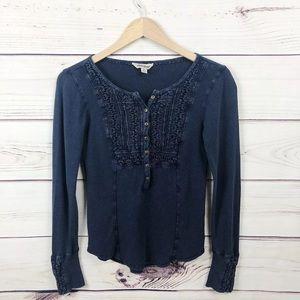 Lucky Brand | Blue Crochet Long Sleeve Button Top